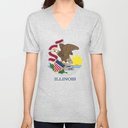 Illinois State Flag, authentic color & scale Unisex V-Neck