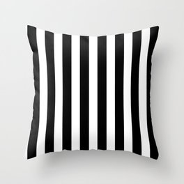 Classic Black and White Football / Soccer Referee Stripes Throw Pillow