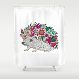 Woodland Hedgehog Illustration Shower Curtain