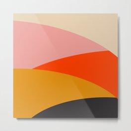 Geometric Sunset Print - art, interior, drawing, decor, design, bauhaus, abstract, decoration, home, Metal Print