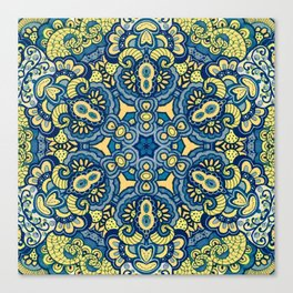 Blue Yellow original Art Canvas Print