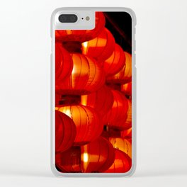 Vibrant red Chinese lanterns Clear iPhone Case