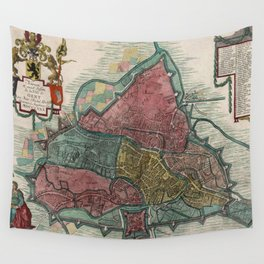 Vintage Map of Ghent Belgium (1780) Wall Tapestry