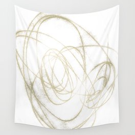 Beige and Brown Minimalist Abstract Line Drawing Wall Tapestry