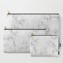 The Perfect Classic White with Grey Veins Marble Carry-All Pouch