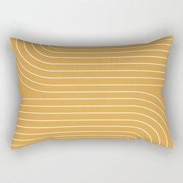 Minimal Line Curvature - Golden Yellow Rectangular Pillow