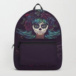 Sugar skull girl with blue hair Backpack
