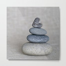 Balanced pebble stack with heart on top Metal Print