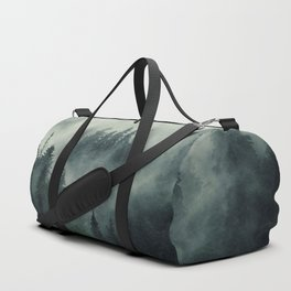 Misty pine fir forest landscape in hipster vintage retro style Duffle Bag
