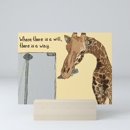 """""""Where there is a will, there is a way"""": Giraffe painting a flipchart Mini Art Print"""
