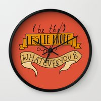 leslie knope Wall Clocks featuring Leslie Knope by Illustrated by Jenny