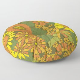 Orange, Brown, Yellow and Green Retro Daisy Pattern Floor Pillow