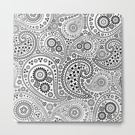 Black and White Paisley Pattern Metal Print