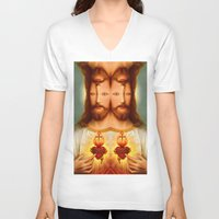 christ V-neck T-shirts featuring Lysergic Christ by Saint Lepus