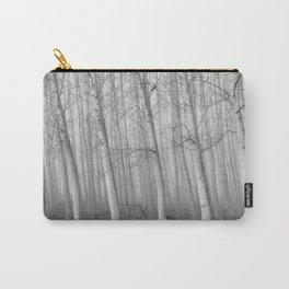 Foggy Poplars. BW Carry-All Pouch