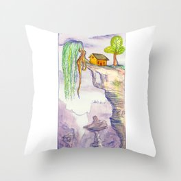 The Lonely Yellow House Throw Pillow