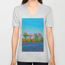Watercolor Tree Line Tropical Paradise Unisex V-Neck