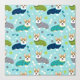 Corgi pajamas welsh corgi in pjs pattern print cute dog gifts custom dog portrait Canvas Print