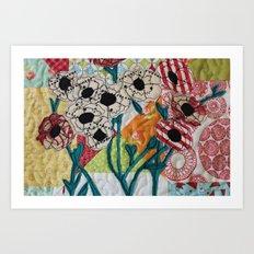 Patchwork Flowers Art Print