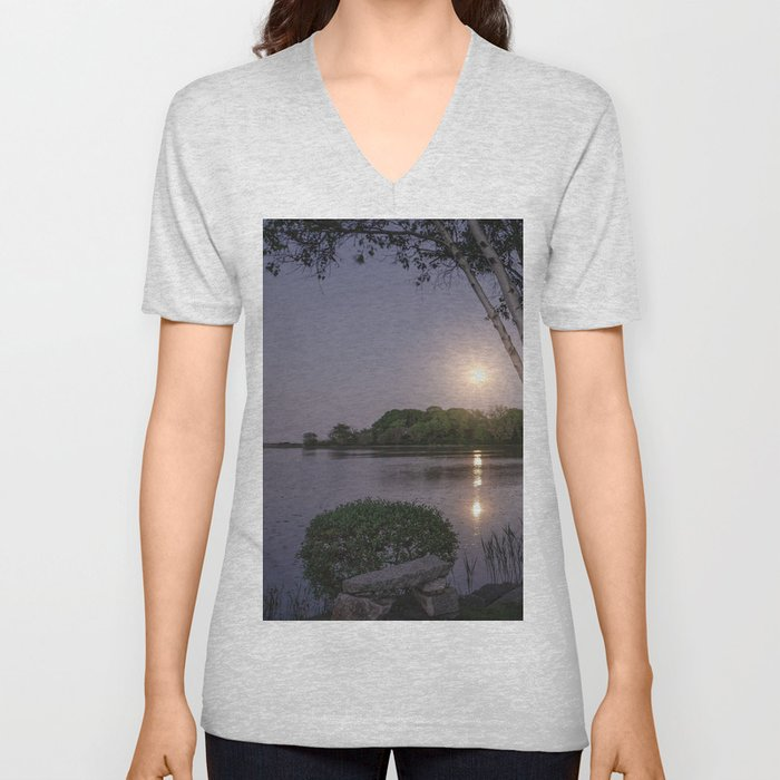 Niles Pond Moon Rise Unisex V-Neck