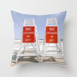No Lifeguard on Duty Throw Pillow
