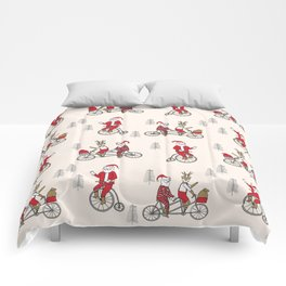 Santa christmas holiday hipster kids tandem bike with reindeer Comforters
