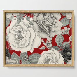 SEPIA FLOWERS ON RED Serving Tray