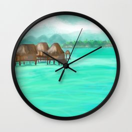 Painterly over the water bungalows in French Polynesia  Wall Clock