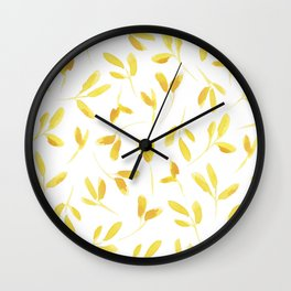 Yellow Leaves Wall Clock