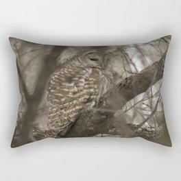 Barred Owl Hunting Rectangular Pillow