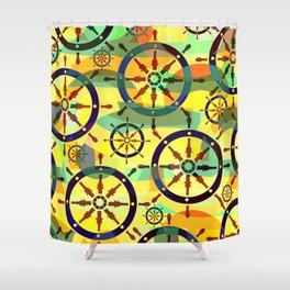 Ship wheels III Shower Curtain