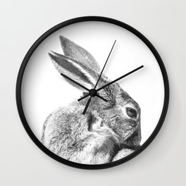 Black and white rabbit Wall Clock