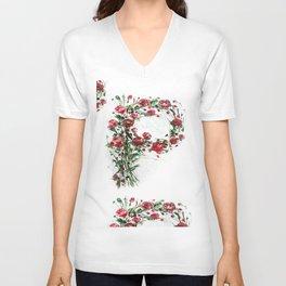 Floral Monogram P Unisex V-Neck