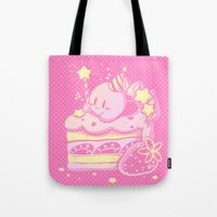 kirby Tote Bags featuring Kirby Cake by Miski