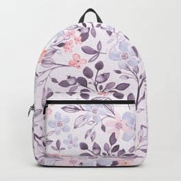 Hand painted modern pink lavender watercolor floral Backpack