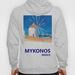 Mykonos Greece Windmill, Sea and Little Venice Travel Retro Poster Hoody