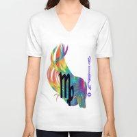 virgo V-neck T-shirts featuring Virgo by LBH Dezines
