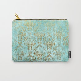 Mermaid Gold Aqua Seafoam Damask Carry-All Pouch