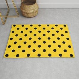 Large Black on Sunshine Yellow Polka Dots   Rug
