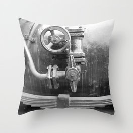 Old steam locomotive in the depot ZUG010CBx Le France black and white fine art photography by Ksavera Throw Pillow