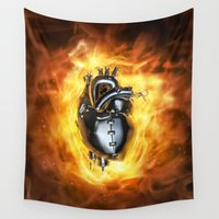 heavy metal Wall Tapestries featuring Heavy metal heart by GrandeDuc