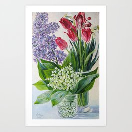 still life. spring flowers. original oil painting Art Print