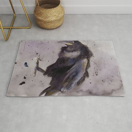 Nevermore - Watercolor Raven Rug
