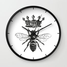 Queen Bee | Vintage Bee with Crown | Black and White | Wall Clock