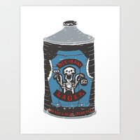 die hard Art Prints featuring Die Hard Lager by Moto