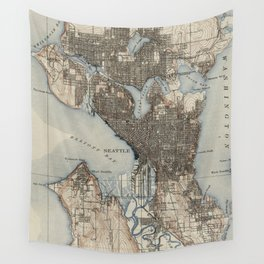 Vintage Map of Seattle Washington (1908) Wall Tapestry
