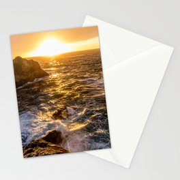 In Waves - Waves Crashing Into Rocks at Sunset In Big Sur Stationery Cards