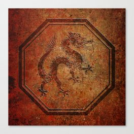 Distressed Chinese Dragon In Octagon Frame Canvas Print