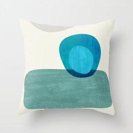 Stacking Pebbles Blue Throw Pillow