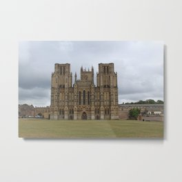 Wide-Angle of Wells Cathedral in Somerset, England Metal Print